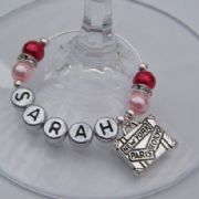 Suitcase Personalised Wine Glass Charm - Elegance Style